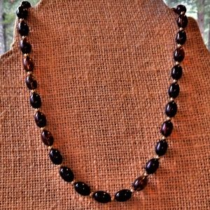 Timeless Brown Acrylic Oval Beads Necklace